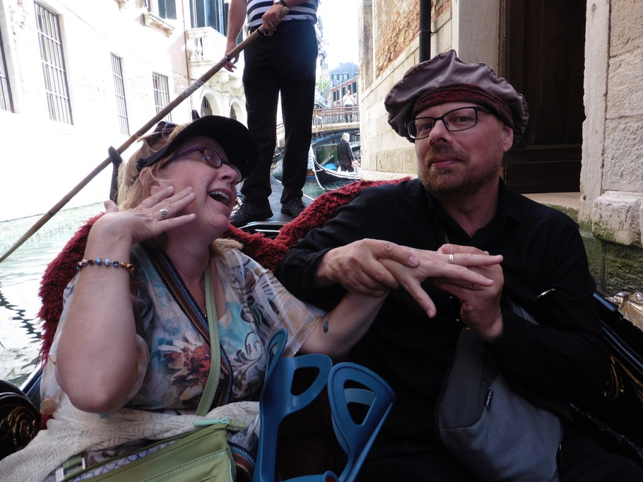 Riding a gondola with Colleen in Venice, Italy. June 6, 2014.