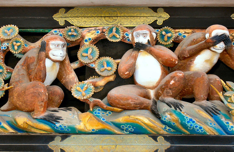 The Three Wise Monkeys, in Nikkō, Japan. Hear no evil, speak no evil, see no evil