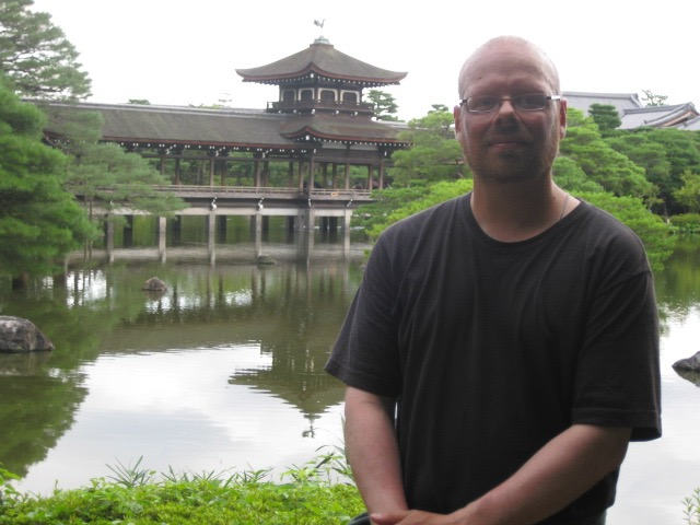 Dean Moore, at the Heian Shrine, in Kyoto, Japan, August 2009, towards the end of a trip round the world.